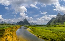 The green field on the upper Gianh river stock photo