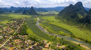 The green field on the upper Gianh river royalty free stock photography