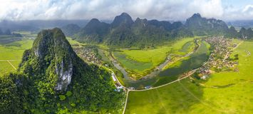 The green field on the upper Gianh river stock images