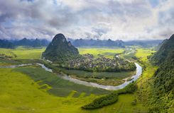The green field on the upper Gianh river stock image