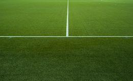 Green field. View of a soccer field with horizontal and vertical lines Royalty Free Stock Photo