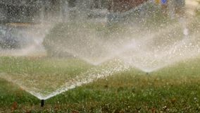 Green field is watered with garden sprinklers. Water spraying out of sprinkler on the green lawn stock video