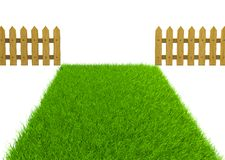 Green field and wooden fence Royalty Free Stock Images