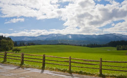 Green field with wooden fence in Bavaria Stock Photo