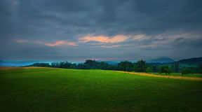 Green Fields. Of Central Serbia, sunset at summer season 2010 Royalty Free Stock Photo