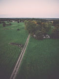Green fields aerial view from view tower. Vintage. Royalty Free Stock Image