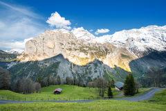 Green fields and famous stunning touristic town , Switzerland. Green fields and famous stunning touristic town with high cliffs in background, Lauterbrunnen royalty free stock images