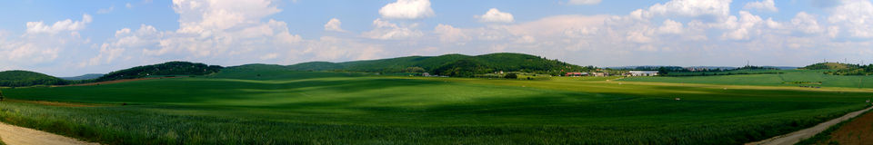 Green Fields and Grassy Airport. Panorama Stock Images