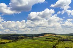 Green fields on hills under blue sky with puffy clouds Stock Photo