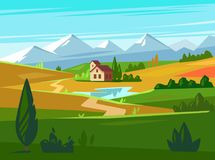 Green fields with huge mountains in the distance and house. Vector Royalty Free Stock Photography