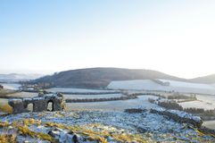 Green Fields of Ireland. Green Fields in rural Ireland with snow royalty free stock photography