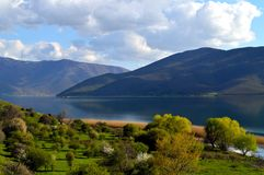 Green fields and a lakescape. Beautiful green fields and the small Prespa lake in Greece Stock Photography
