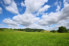 Green fields landscape with white clouds. In the sky Royalty Free Stock Images