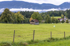 Green fields and mounatins Royalty Free Stock Images