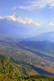 Green fields and mountain landscape, Pokhara, Nepal Stock Photos
