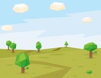 Green fields polygonal background Stock Photos