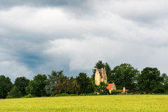 Green fields before thunderstorm in Darmstad Stock Image