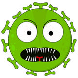 Green fierce virus on white. Green virus illustration with a fierce face and sharp teeth Stock Image