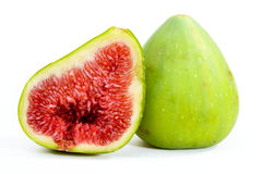 Green Figs. Isolated on white background Royalty Free Stock Photos