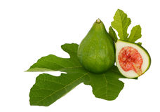 Green figs with leaf isolated over white background Royalty Free Stock Photography