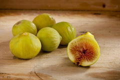 Green Figs on Wood Stock Photo