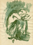Green figure. Hand drawing picture with sad green figure, water colors Stock Images