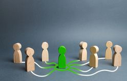 The green figure of a person unites other people around him. Call for cooperation, creating a new team. Leader and leadership