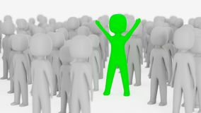 Green figure standing out in crowd. Green figure among many gray figures with arms in the air Stock Photography