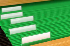 Green File Folders. With blank tags on them Stock Photo