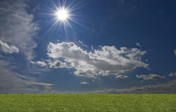 Green filed, blue sky, white cloud. Green filed, blue sky and white cloud royalty free stock photography