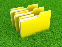 Green files. Green data. A folder in the grass. 3d illustration Royalty Free Stock Photography