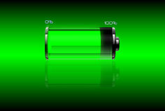 Green filled battery Stock Images