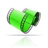 Green film reel. On white Royalty Free Stock Images