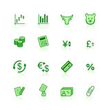 Green finance icons. On the white background Stock Photo