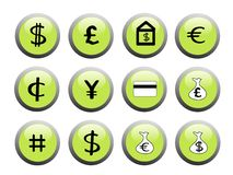Green financial icon buttons. Set of green financial icon buttons with black and white icons Royalty Free Stock Photos