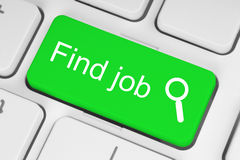 Green find job button. On white keyboard Stock Photography