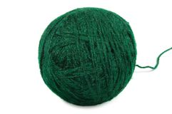 Green fine wool ball thread isolated clew macro Royalty Free Stock Photos