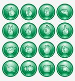 Green finger button arm icon Royalty Free Stock Photo