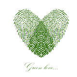 Green fingerprint with heart on a white background. Vector. EPS Stock Image