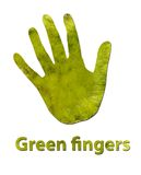 Green fingers. A handprint made up of green leaves to symbolize green fingers or ecology Stock Photo