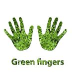 Green fingers. A handprint made up of green leaves to symbolize green fingers or ecology Stock Image