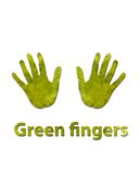 Green fingers. A handprint made up of green leaves to symbolize green fingers or ecology Stock Images