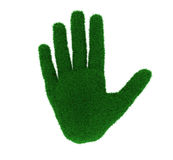 Green fingers. 3d illustration of a hand covered in grass, a carbon handprint/footprint concept Royalty Free Stock Photography