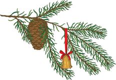 Green Fir Branch With Toy and Pine Cone Royalty Free Stock Photos