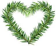 Green fir branch wreath heart shape Royalty Free Stock Photography