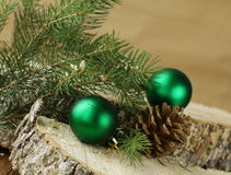Green fir branches and christmas decorations Stock Photography