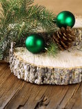 Green fir branches and christmas decorations Stock Photo