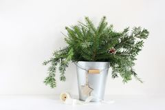 Green fir branches in metalic bucket. Christmas composition with pinecones, wooden star and spool of ribbon lying on Royalty Free Stock Images
