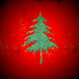 Green fir christmas tree on grunge red background Royalty Free Stock Photo