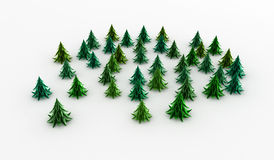 Green Fir Copse. Stylized cartoon 3d fir trees, white background Royalty Free Stock Photography